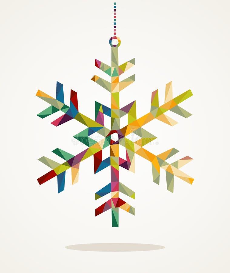 С Рождеством Христовым форма снежинки с составом EPS10 треугольника иллюстрация вектора