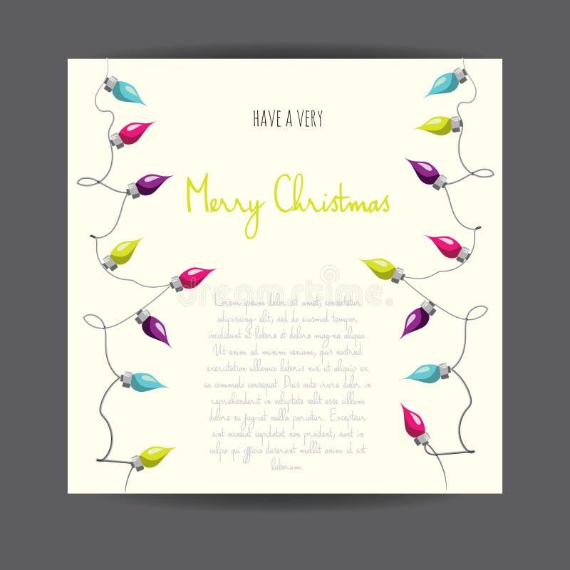 С Рождеством Христовым! Greetingcard проиллюстрированное вектором с гирляндой электрической лампы иллюстрация штока
