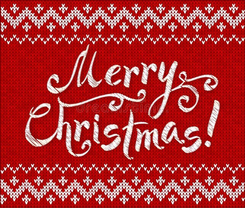 С Рождеством Христовым knit на красной предпосылке иллюстрация вектора