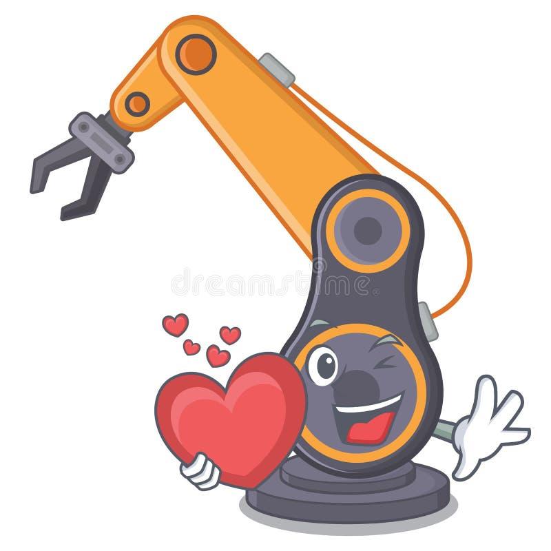 С рукой сердца промышленной робототехнической изолированной с мультфильмом бесплатная иллюстрация