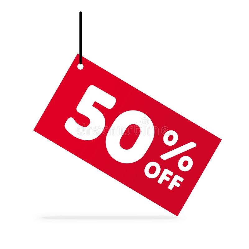 50% с скидки Иллюстрация цены предложения скидки Красная бирка с белыми письмами иллюстрация штока