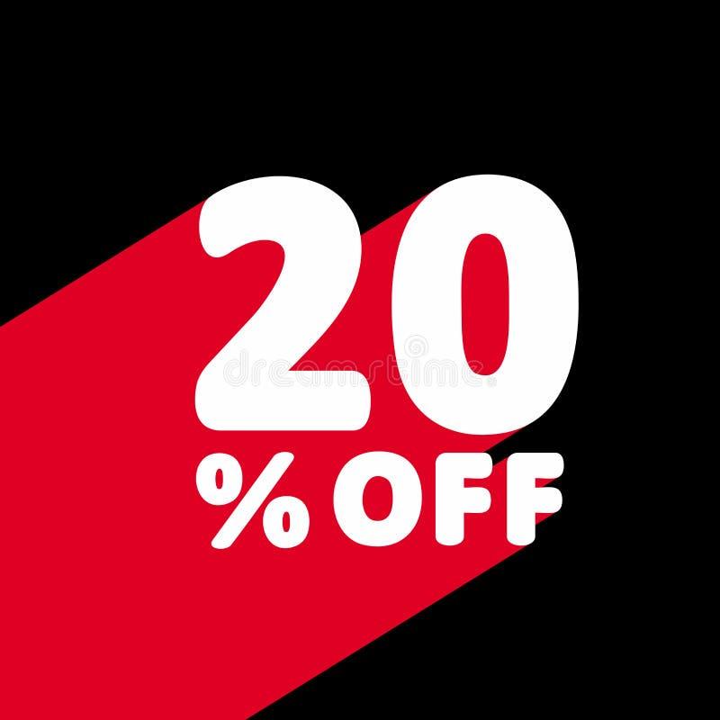 20% с скидки Иллюстрация цены предложения скидки иллюстрация вектора