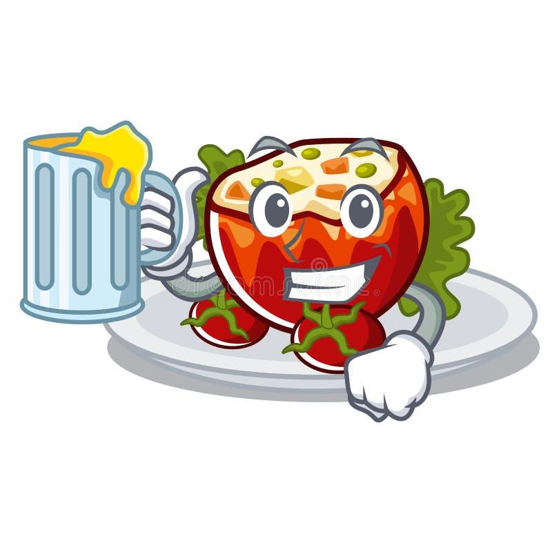 С соком заполненные томаты на доске мультфильма иллюстрация вектора