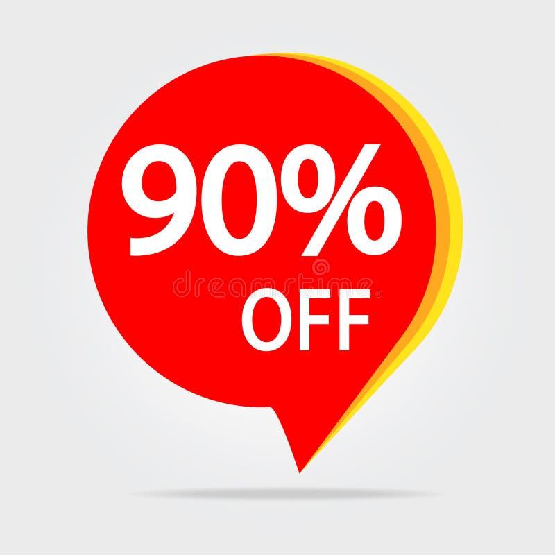 90% С стикера скидки Вектор изолированный биркой Illustrat продажи красной бесплатная иллюстрация