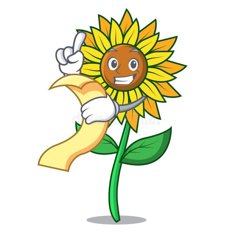 С стилем шаржа талисмана солнцецвета меню бесплатная иллюстрация
