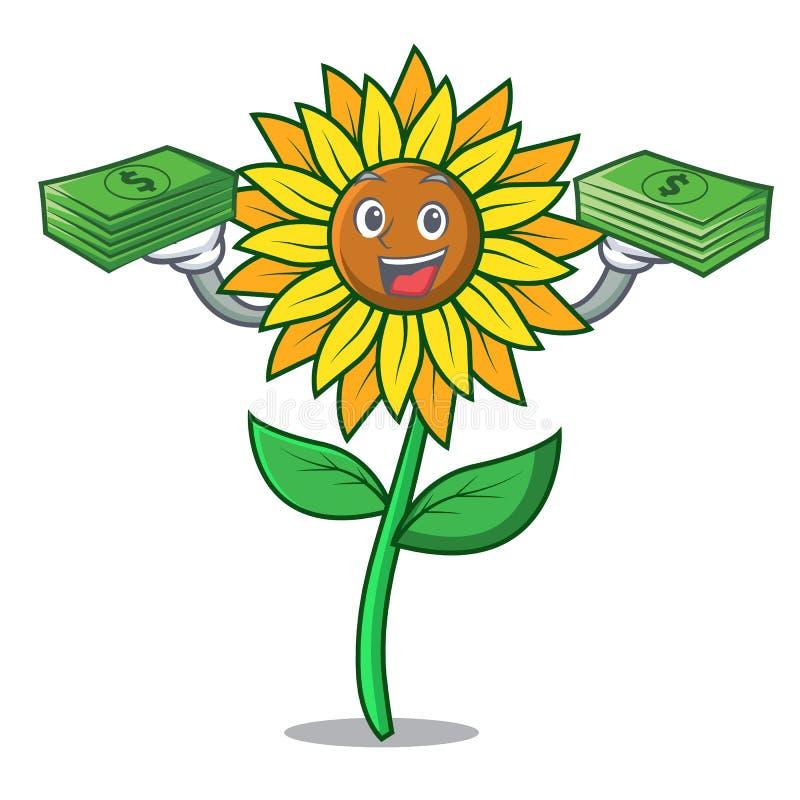 С стилем шаржа талисмана солнцецвета сумки денег бесплатная иллюстрация