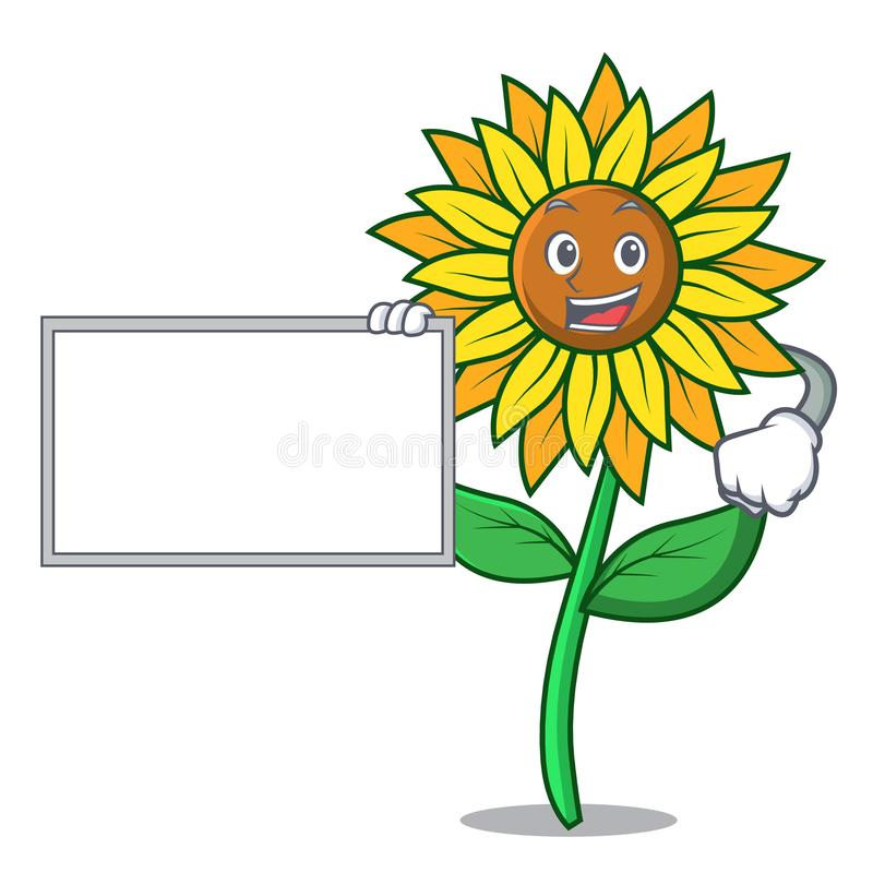 С стилем шаржа характера солнцецвета доски иллюстрация вектора