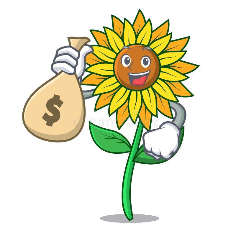 С стилем шаржа характера солнцецвета сумки денег бесплатная иллюстрация