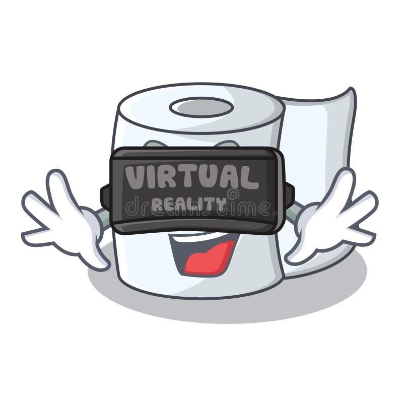 С стилем шаржа характера ткани виртуальной реальности иллюстрация вектора