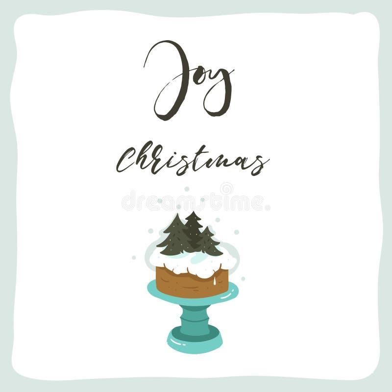 С стойкой торта праздника и современный нарисованные рукой плакат иллюстраций шаржа времени потехи конспекта вектора с Рождеством бесплатная иллюстрация
