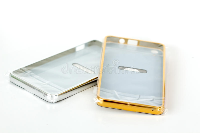 Случаи для smartphone белизна изолированная предпосылкой стоковое фото rf