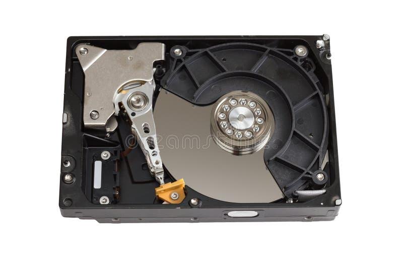 Случай дисковода жесткого диска открытый изолированный на белизне стоковые фото