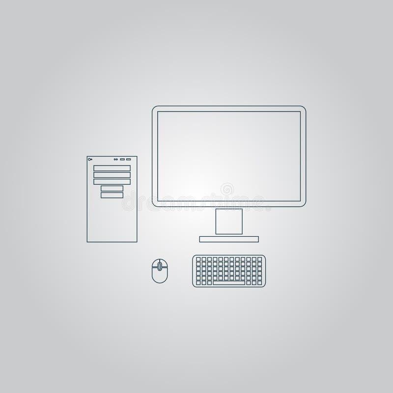 Случай компьютера с монитором, клавиатурой и мышью, значком иллюстрация штока