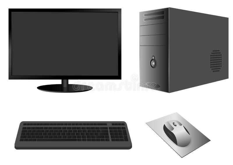 Случай компьютера с монитором, клавиатурой и мышью иллюстрация штока
