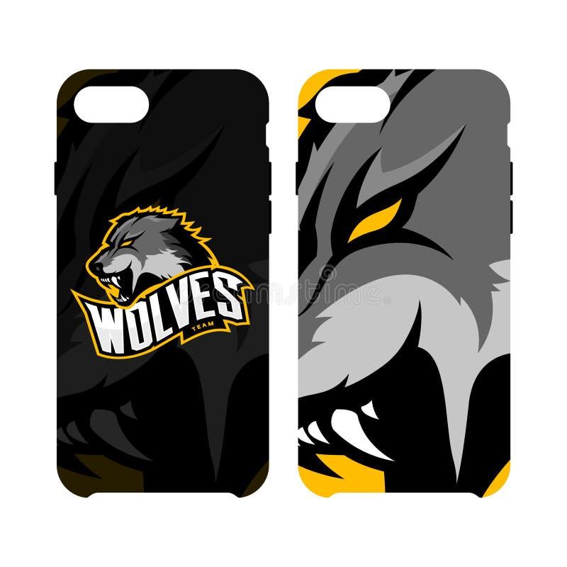 Случай телефона злющей концепции логотипа вектора спорта волка умный изолированный на белой предпосылке иллюстрация вектора