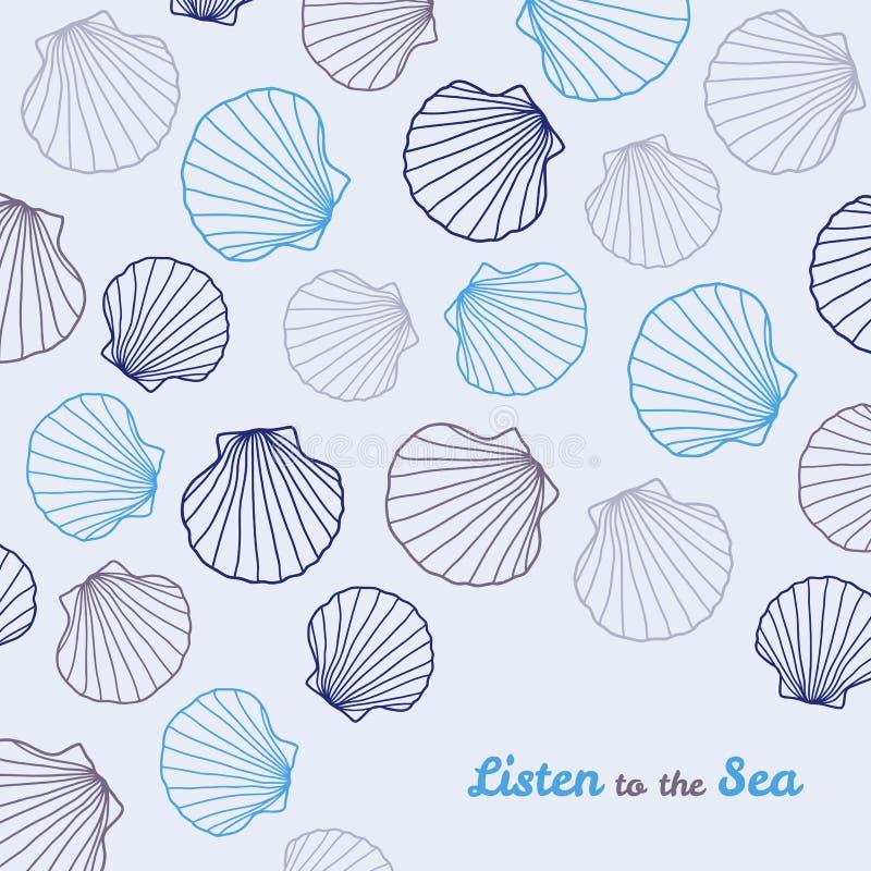 'Слушает к открытка морю' скопируйте космос иллюстрация вектора
