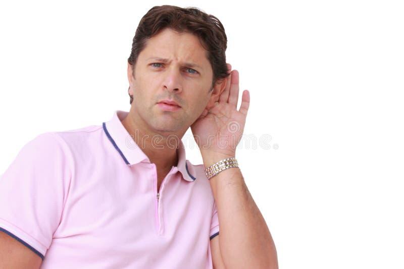 Слушать тщательно - глухой - проблемы слуха стоковые изображения rf