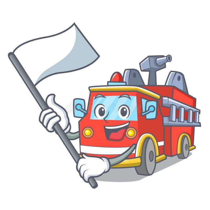 С шаржем талисмана пожарной машины флага иллюстрация вектора