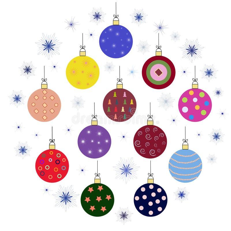 С julprydnader, julbollar Insamling av dekorationskulor för vektorjulen vektor illustrationer