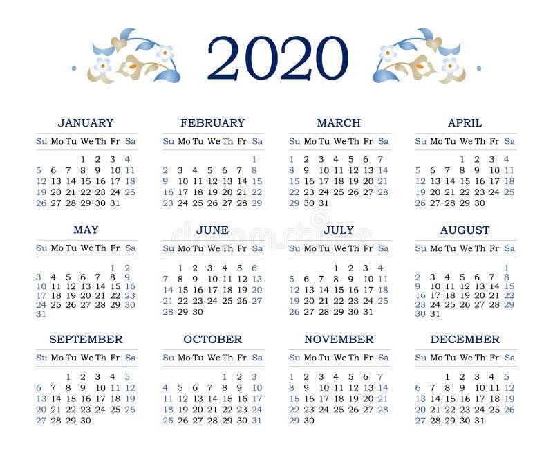 Ð¡ Kalender Raster 2020 mit Woche beginnt Sonntag lizenzfreie abbildung