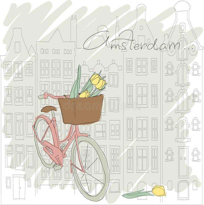 ?ard con la bicicleta bonita y el tulipán amarillo en Amst ilustración del vector