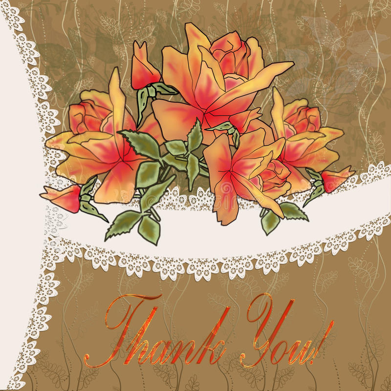 Ð¡ard Thank you. Ð¡ard with beautiful roses and lace Thank you royalty free illustration