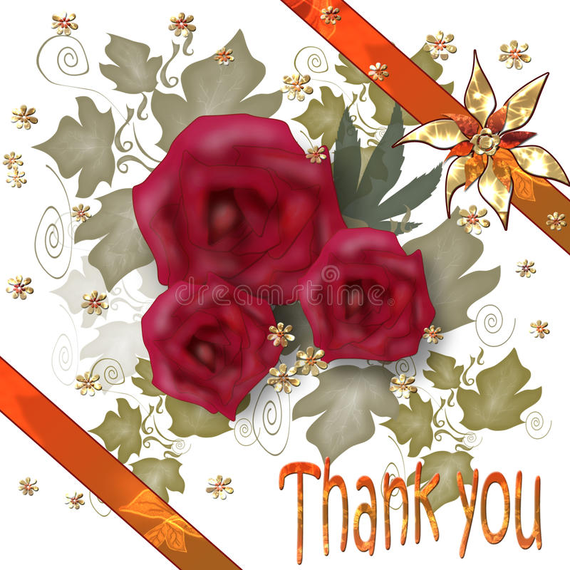 Ð¡ard Thank you. Ð¡ard with beautiful roses and ribbon Thank you stock illustration