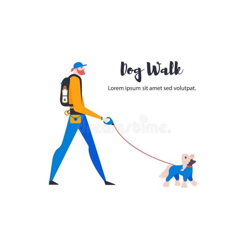 ?artoon Chinese kuif en persoonlijke hond-leurder Een mens met een huisdier stock illustratie