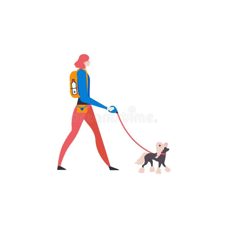 ?artoon Chinese kuif en persoonlijke hond-leurder Meisje met huisdier in openlucht vector illustratie