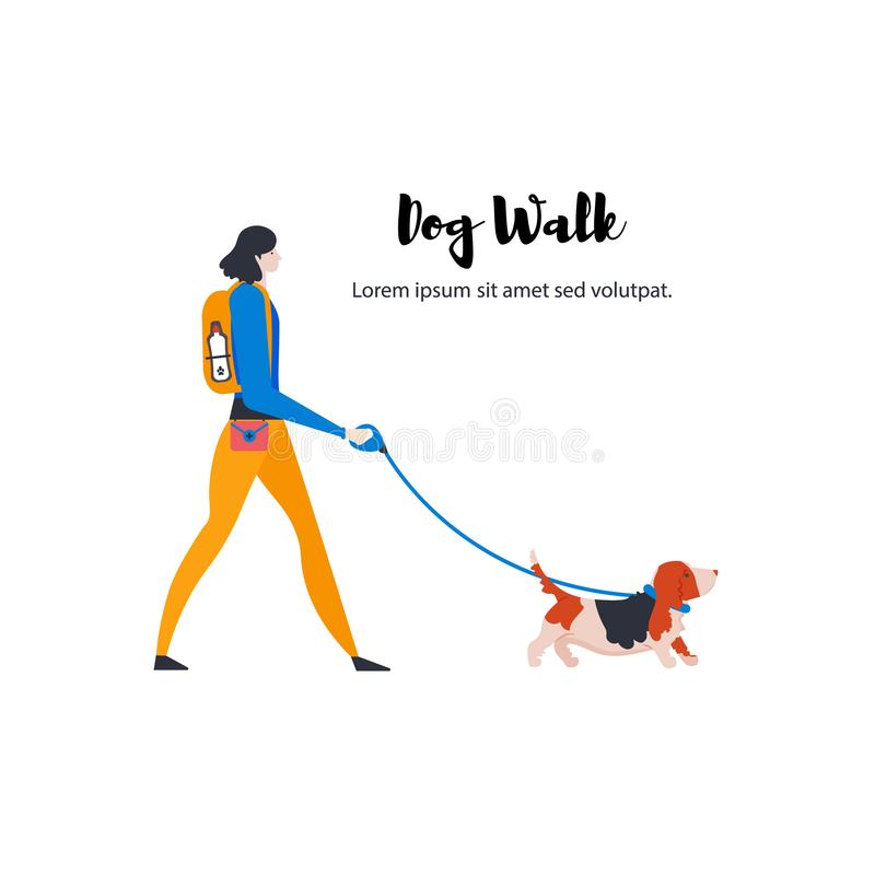 ?artoonbasset hond en persoonlijke hond-leurder vector illustratie