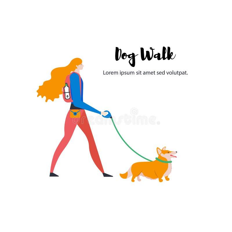 ?artoonpictogrammen van Welse Corgi-Cardigan, persoonlijke hond-leurder, tekst Leuk meisje met huisdier in openlucht stock illustratie