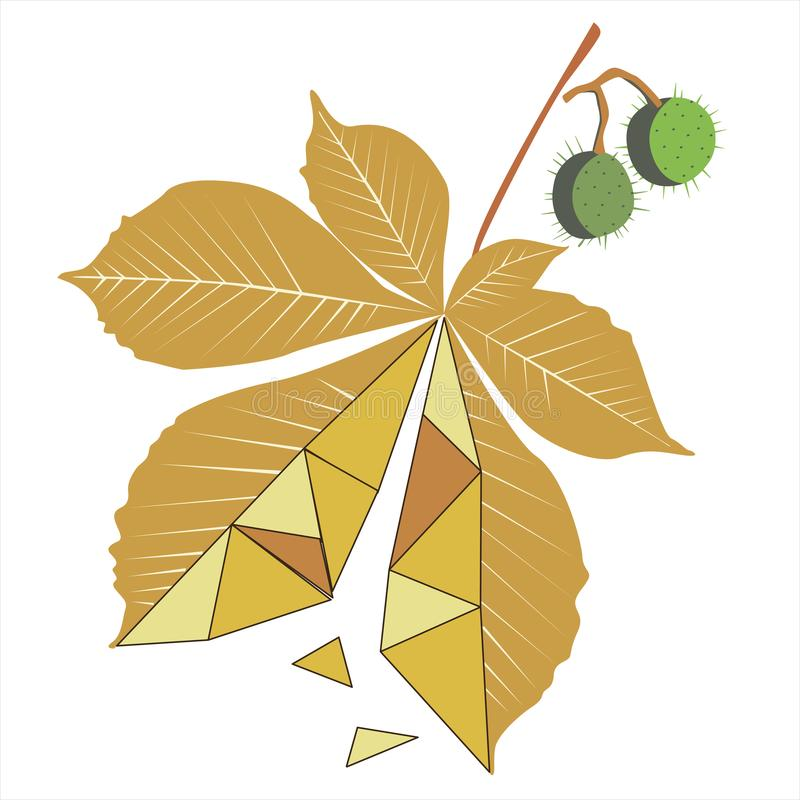 Ð¡hestnut tree leave with linear triangles. A yellow leaf of a Ð¡hestnut tree leave with linear triangles tree falls in autumn. Vector illustration made vector illustration