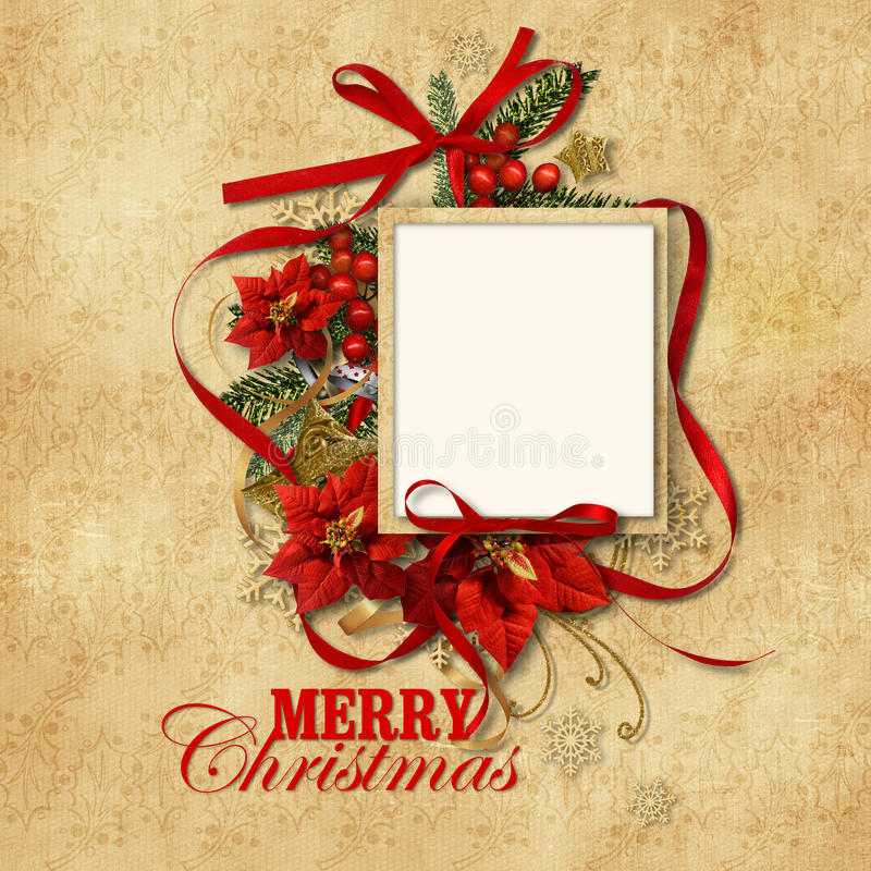 Сhristmas vintage background with gorgeous frame royalty free illustration