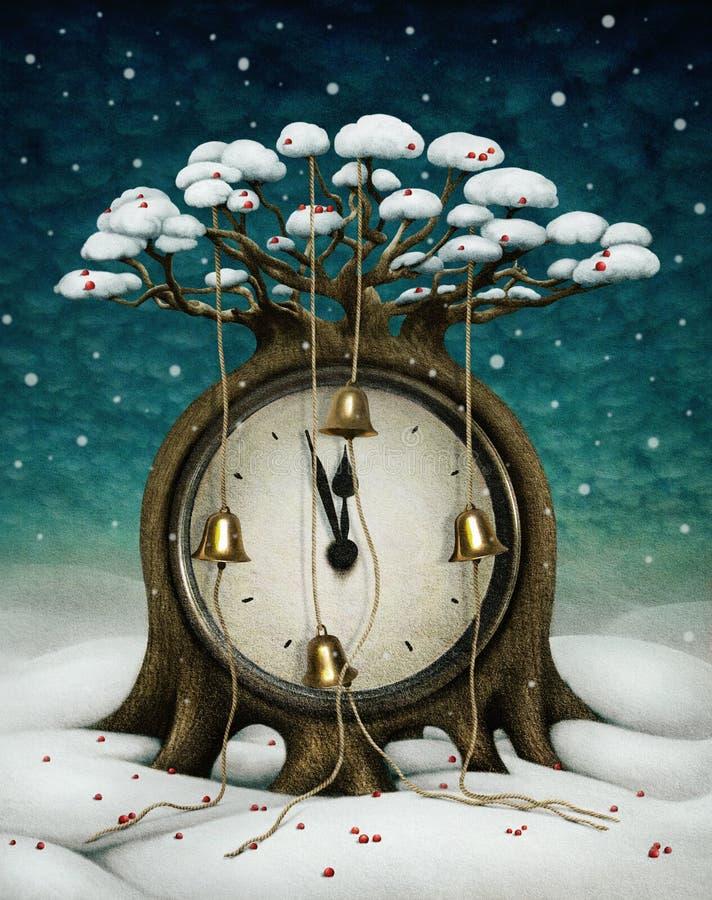 Сlock tree royaltyfri illustrationer