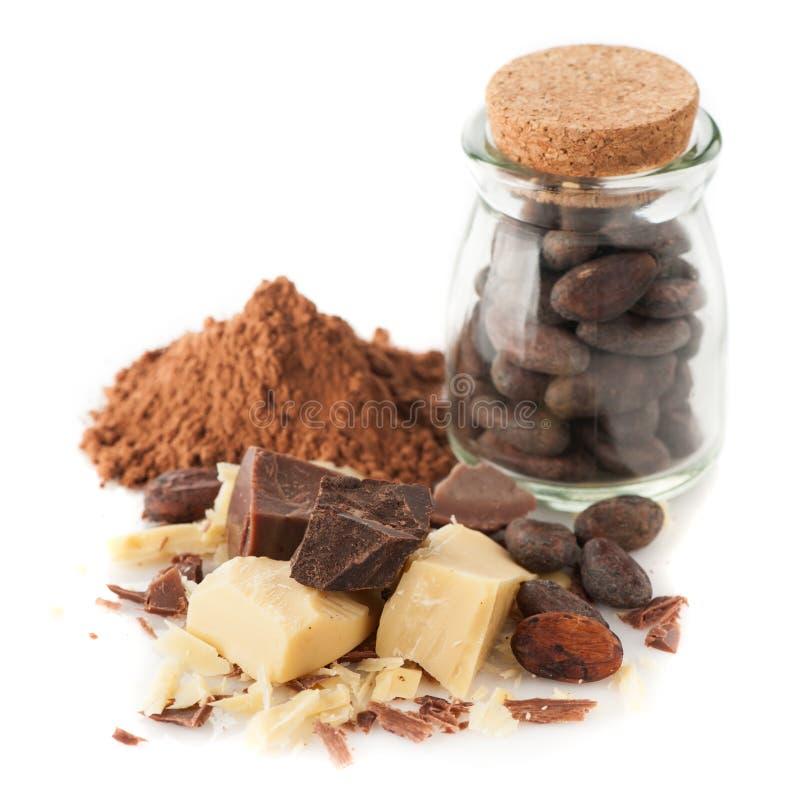 Сocoa oljer (smör), kakaopulver, kakaobönor och choklad arkivbild