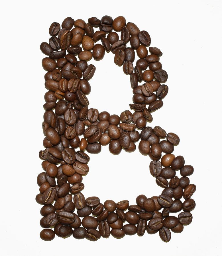 Сoffee letter - B. English Coffee Alphabet isolated on white. Roasted coffee beans. Ð¡offee letter - B, text, drink, food, sign, brown, cafe, background royalty free stock photos