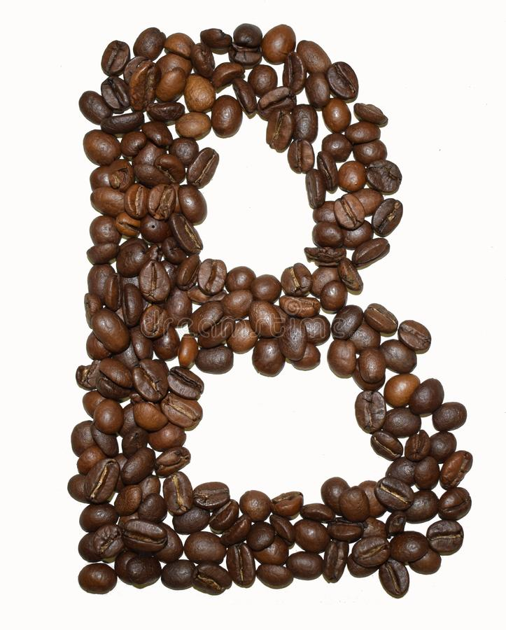 Сoffee letter - B. English Coffee Alphabet isolated on white. Roasted coffee beans. Ð¡offee letter - B, dark, food, fresh, education, nature, cafeteria royalty free stock photography