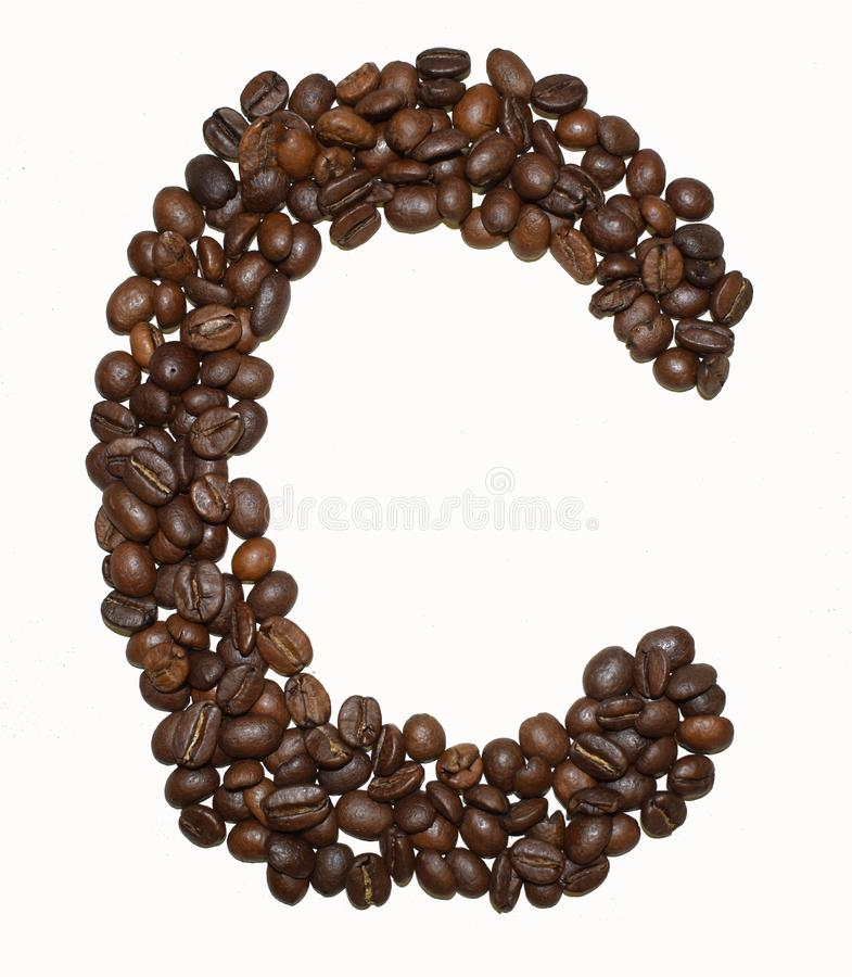 Сoffee letter - C. English Coffee Alphabet isolated on white. Roasted coffee beans. Ð¡offee letter - C, text, drink, food, sign, brown, cafe, background royalty free stock photography