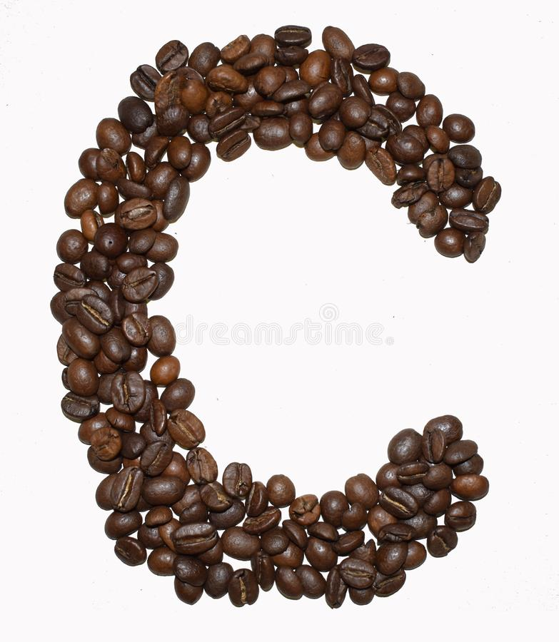 Сoffee letter - C. English Coffee Alphabet isolated on white. Roasted coffee beans. Ð¡offee letter - C, beverage, arabica, object, dark, concepts royalty free stock photos