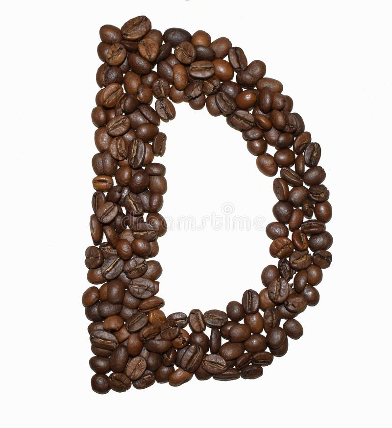 Сoffee letter - D. English Coffee Alphabet isolated on white. Roasted coffee beans. Ð¡offee letter - D, text, drink, food, sign, brown, cafe, background royalty free stock photography