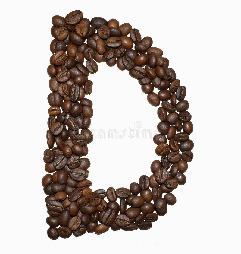Сoffee letter - D. English Coffee Alphabet isolated on white. Roasted coffee beans. Ð¡offee letter - D, write, character, fresh, pattern, writing, big royalty free stock photography