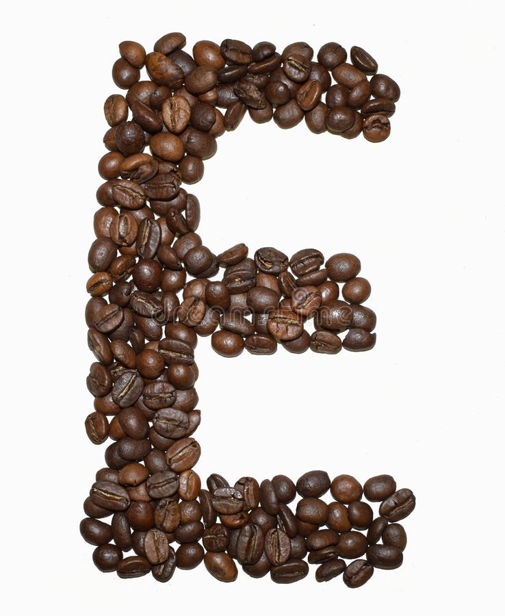 Сoffee letter - E. English Coffee Alphabet  on white. Roasted coffee beans. Ð¡offee letter - E, text, drink, food, sign, brown, cafe, background, seed royalty free stock image