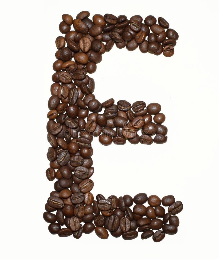 Сoffee letter - E. English Coffee Alphabet isolated on white. Roasted coffee beans. Ð¡offee letter - E, uppercase, word, aromatic, mocha, object royalty free stock image