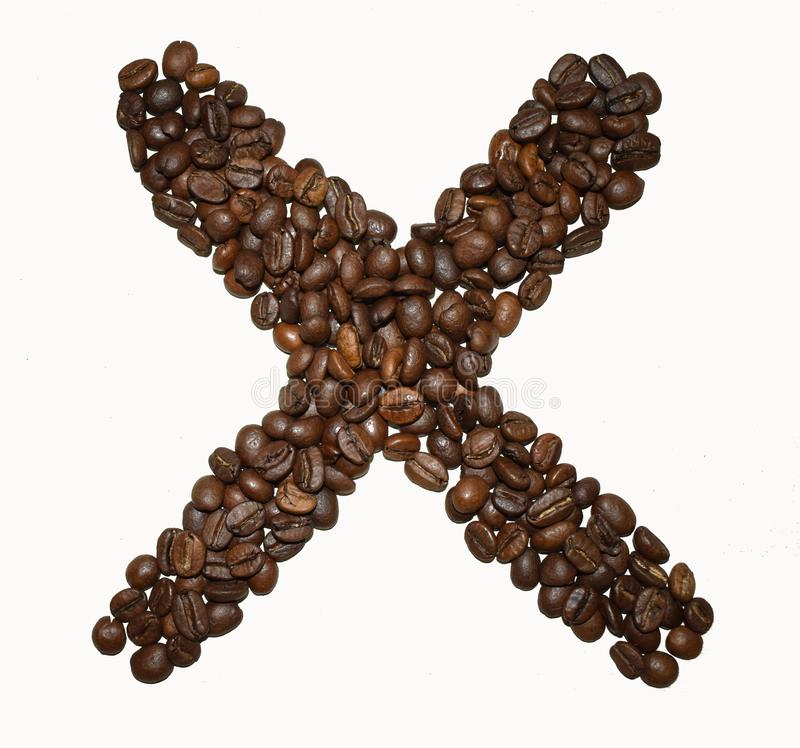 Сoffee letter - X. English Coffee Alphabet isolated on white. Roasted coffee beans. Ð¡offee letter - X, text, drink, food, sign, brown, cafe, background stock photo