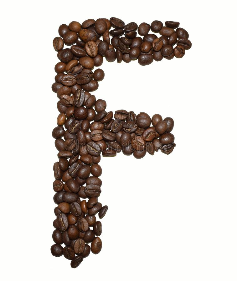 Сoffee letter - F. English Coffee Alphabet isolated on white. Roasted coffee beans. Ð¡offee letter - F, text, drink, food, sign, brown, cafe, background royalty free stock image