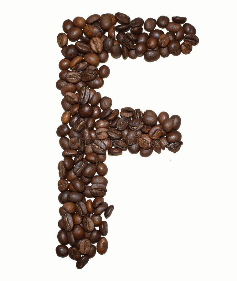 Сoffee letter - F. English Coffee Alphabet isolated on white. Roasted coffee beans. Ð¡offee letter - F, grain, shape, symbol, text, black, caffeine royalty free stock photography