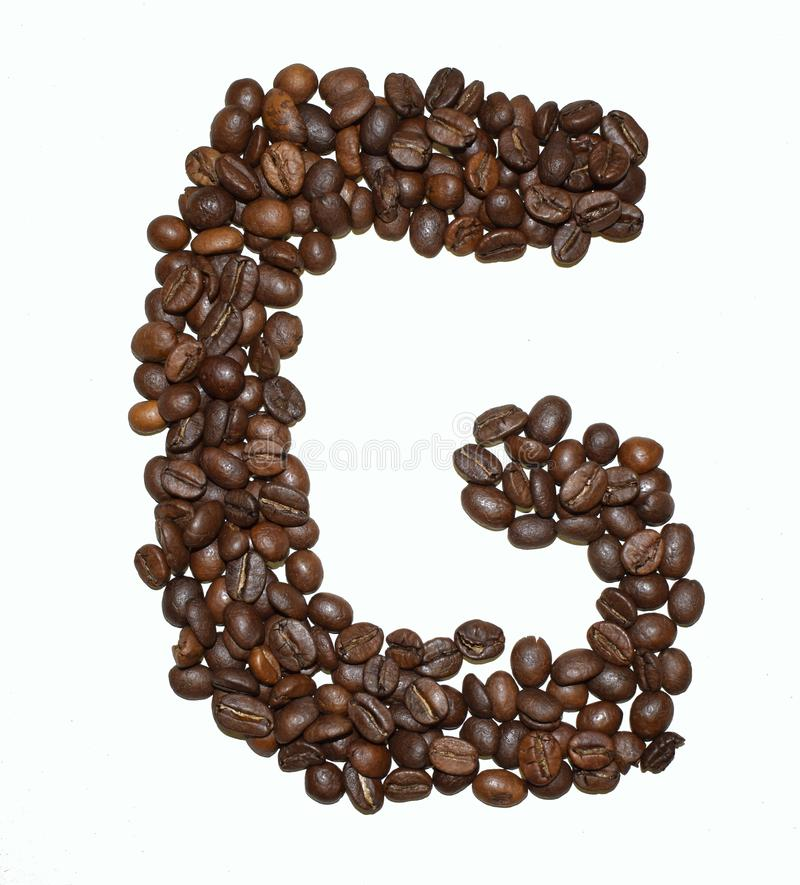 Сoffee letter - G. English Coffee Alphabet isolated on white. Roasted coffee beans. Ð¡offee letter - G, text, drink, food, sign, brown, cafe, background stock photo