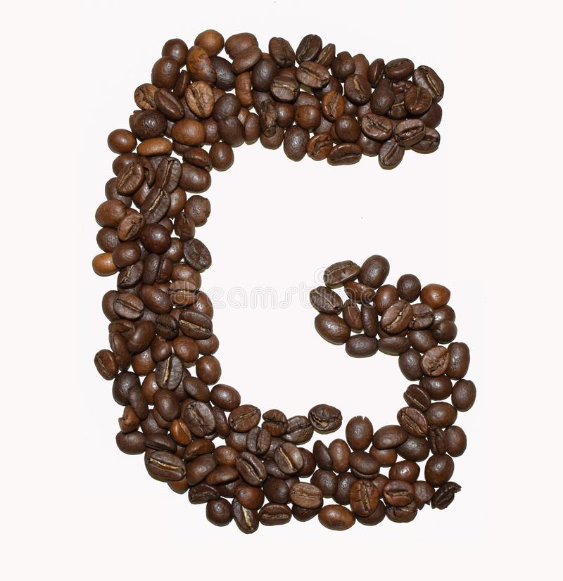 Сoffee letter - G. English Coffee Alphabet isolated on white. Roasted coffee beans. Ð¡offee letter - G, black, fresh, cafeteria, promotion, write, sign royalty free stock image