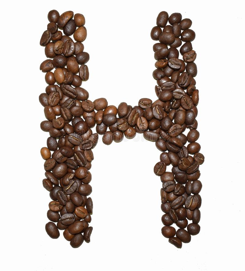 Сoffee letter - H. English Coffee Alphabet isolated on white. Roasted coffee beans. Ð¡offee letter - H, text, drink, food, sign, brown, cafe, background stock image