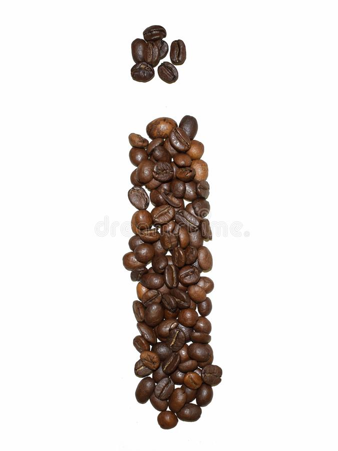 Сoffee letter - I. English Coffee Alphabet isolated on white. Roasted coffee beans. Ð¡offee letter I, text, drink, food, sign, brown, cafe, background stock photography